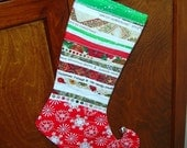 Red Christmas Stocking Upcycled Selvage Snowflake - TheQuiltingViolinist