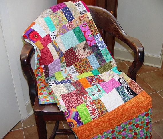 Twin Bed Quilt Modern Bright Colors