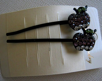 Apple rhinestone hair bobby pin