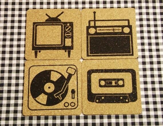 AV Club - Cork Coaster set - TV - Radio - Turntable - Cassette