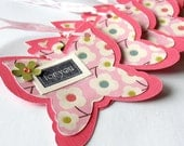 Gift Tags, Butterfly Hangtags Tags in Coral and Pink with Flowers, Handmade Tie On Hang Tags, Set of 6