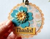 Gift Tags, Thank You, Set of 6, Flowers, Teal and Yellow Orange, Handmade Tie On Gift Tags ON SALE