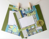 12x12 Premade Scrapbook Page s For Boys Two Page Spread Woodland Owl Theme Green and Blue