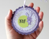 Easter Gift Tag Bunny Tags Purple Green Scrapbooking Embellishment Set of 9 Tie On Paper Tags Handmade ON SALE