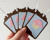 Blank Cupcake Gift Tags Die Cut Scrapbooking Embellishments Brown Light Blue Pink Handmade Paper Tags 3x2 inch Set of 9