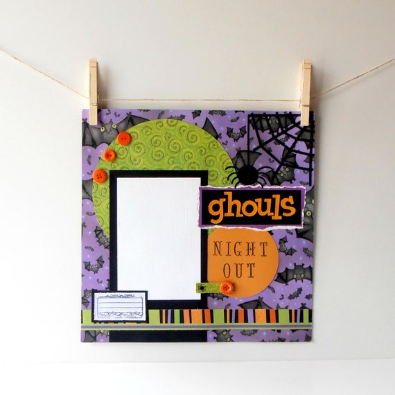 Premade Scrapbook Pages 12x12  Halloween Spiders and Bats in Orange Green and Purple