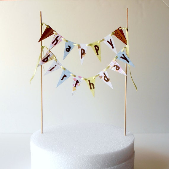 Cake Decoration With Paper : Happy Birthday Cake Bunting Paper Flags Cake Decoration Pastel