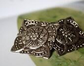 Vintage Antique Silver Flower Earrings