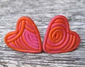 Filigree Polymer Clay Heart Earrings - Pink & Orange Post Studs 2cm