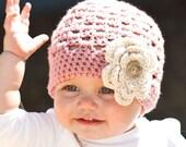 Baby Hat Beanie in Vintage Rose Pink  with Ecru Flower - Newborn Baby/Infant/Toddler/Children, Pink Hat, Shower Gift