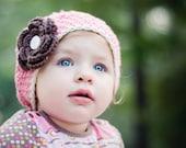 Baby Hat Beanie Crochet Pink and Cream with Brown Flower - Newborn/Toddler/Children