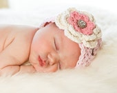 Newborn Baby Hat Beanie -  Pink with Ecru Rose Pink Flower, Leaf and Rhinestone Button - Infant, Toddler and Children sizes available