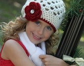 Girls Christmas Hat Beanie Crochet  in Cranberry Red and Cream with Rhinestone Accent - Baby Toddler Children