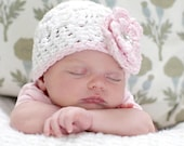 Newborn Crochet Hat in White and Pink with Rhinestone Button - Baby Toddler Children Sizes Available
