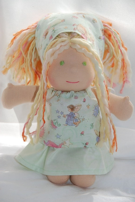 "Itty Bitty Pillowcase Top, Skirt, and Headscarf Set for 8"" & 9"" Waldorf Dolls in Green and Fairies"