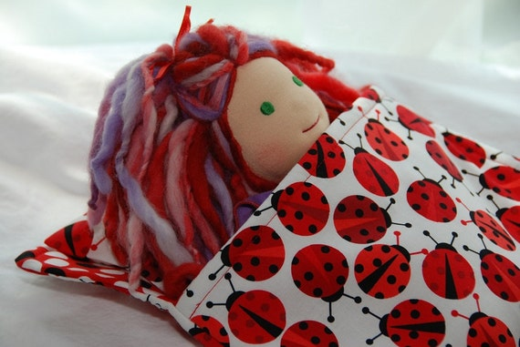 "Sweet Dreams Sleeping Bag and Pillow Set for 7"" to 11"" Waldorf Dolls in Ladybugs"