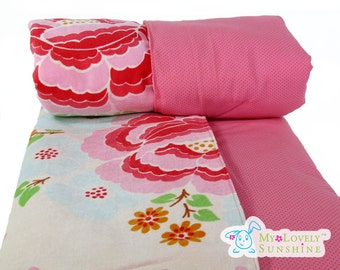 Pink floral Rose Baby Blanket, Original Oilily Fabric,  Luxurious Baby gift Blanket