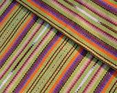 Guatemalan fabric in celadon and purple stripes