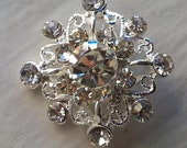 10 Pieces  Crystal Clear  Glass Rhinestone Studded Snowflake Metal Shank Buttons. 19 mm