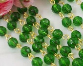 36 Inches of  6mm  Emerald  Green  Faceted Round Glass Beaded Rosary Chain with  Gold Tone Nickle  Free Metal Loop Links, EGGD