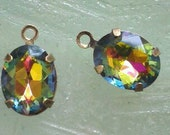 4 Pieces. 10 MM X 8 MM  Exotic AB  Faceted Oval Glass  Rhinestones  With One Ring   Antique  Brass Settings, Jewelry Supply