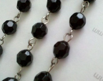6mm 6 Feet Black  Faceted Round Acrylic Plastic  Bead Rosary Style Silver Chain Links