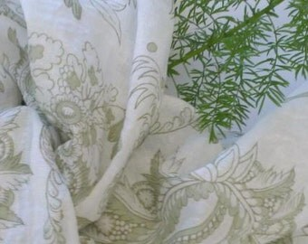 Soft Breezy   White Handkerchief Cotton Scarf in A  Greyish Green  Paisley Print