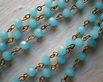 36 Inches 6 mm  Aqua Faceted Round Glass Beaded Rosary Chain,Antique Gold Metal Links