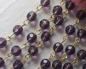 36 Inches of  6 mm Royal Purple  Faceted Round Glass Beaded Rosary Chain with  Gold  Tone  Metal Loop Links,  Jewelry Supply.