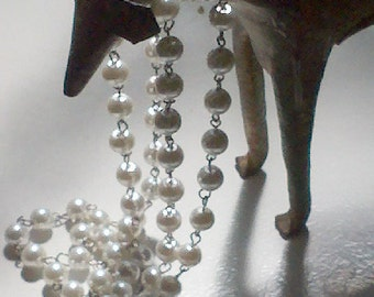18 Inches Handmade  10 MM  White Glass  Pearl Beaded  Chain Links, Jewelry Supply