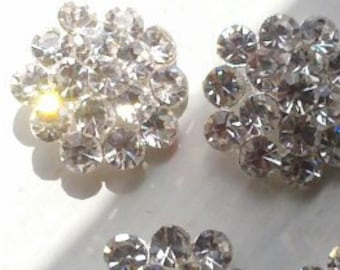 10 pieces  Large  23 mm  Round  Silver Metal Buttons Crystal Clear  Rhinestone Studded Nickle Free Lead Free