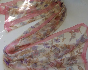 Soft and Romantic White Chiffon Scarf with Pink Boarder and Pale  Lilac and Pink Flowers