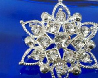5 pieces 31 mm  Star Shaped Large Clear Rhinestone Silver  Metal Buttons