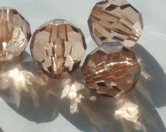 24 Pieces  Large  20 mm Light Brown  Clear Faceted  Round    Lucite Acrylic Beads