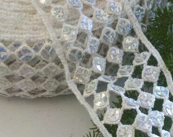 "6.5 Yards, 2""  Wide Vintage White Crochet Trim with Sequins,"