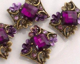 4 Pieces Large Magenta Purple Rhinestone Metal Bead and Flower Leaves  Motif Base. Jewelry Supply, Buckles. Large Rhinestone Connectors. PLB