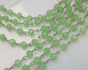Sea Green  Frosted Faceted  Round  Glass  Silver Rosary Chain Links, Handmade Jewelry Supply. 36 Inches.