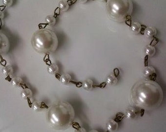 36 Inches 12 mm and 6 mm Vintage  Ivory Glass Pearl Beaded Antique Brass Chain Links,  Handmade  jewelry Supply