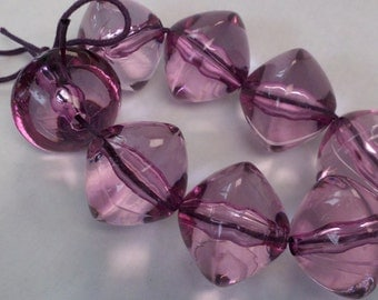 Large Purple Lucite  Plastic Beads  24 mm x 21 mm  Smooth Transparent   Acrylic Beads
