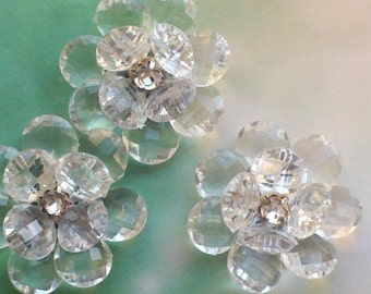 52 mm Handmade Large Flower Beads with  Rhinestone Center.Bridal Embellishment X 2