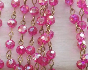 36 Inches of 6mm Faceted Round AB Hot Pink  Glass Beaded Rosary With   Brass Chain Links,Craft Supply
