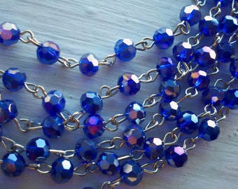 36 Inches,  6 mm, Faceted Round AB  Cobalt  Blue,  Glass Beaded Rosary, gold, gunmetal, silver or brass Chain
