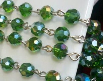 36 inches Rosary Chain of 6 mm Faceted Round AB Emerald  Green  Glass Beads  with Silver Links