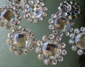 Clear  Glass Rhinestone Silver  Metal Buttons, 10 Pieces  23 mm. Bridal Embellishment.