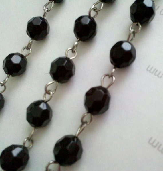 Reserved for Necrosarium ---  6mm Black  Faceted Round Acrylic Plastic  Bead Rosary Style Silver Chain Links