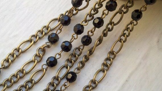2 Yards   6 mm  Black Faceted Round Lucite Acrylic  Beads and Brass Figaro Chain  Links