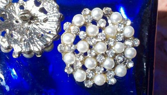 """Reserved for Carolyn ---Silver Metal Rhinestone Buttons with Ivory Pearls  23 mm , """" Lucy """" , Bridal , Brooch."""