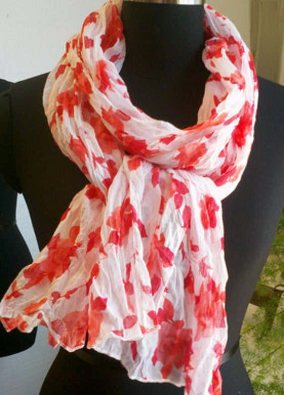 Soft Breezy  White Sheer Cotton Scarf with  Red  Roses  Print.