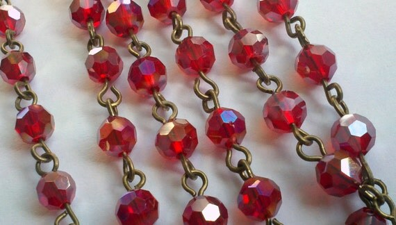 36 Inches of 6 mm Faceted Round AB  Ruby Red  Glass Beaded Rosary With Antique Brass Chain Links, Jewelry Making Supply
