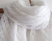 white lace wedding shawl, hand knitted, with sparkle, on sale 15%off
